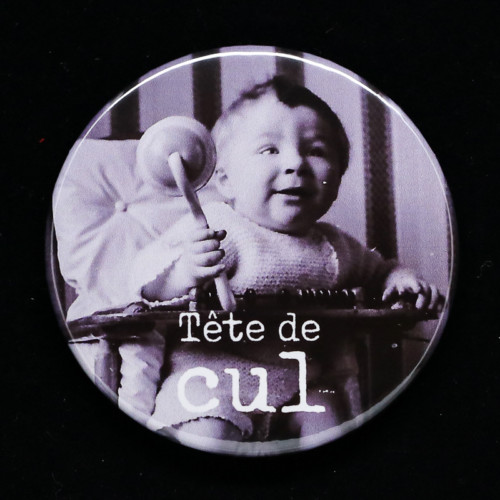 Badge tete de cul Red Orb Créations